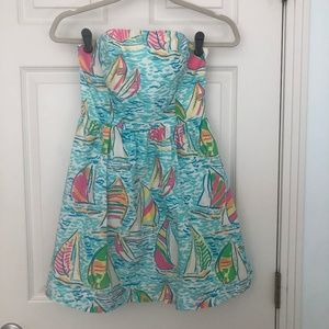 Lilly Pulitzer Strapless Sailboat Print Dress